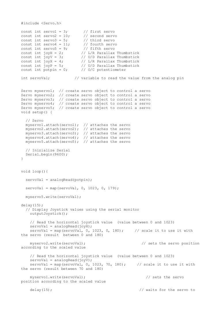 Arm code arduino