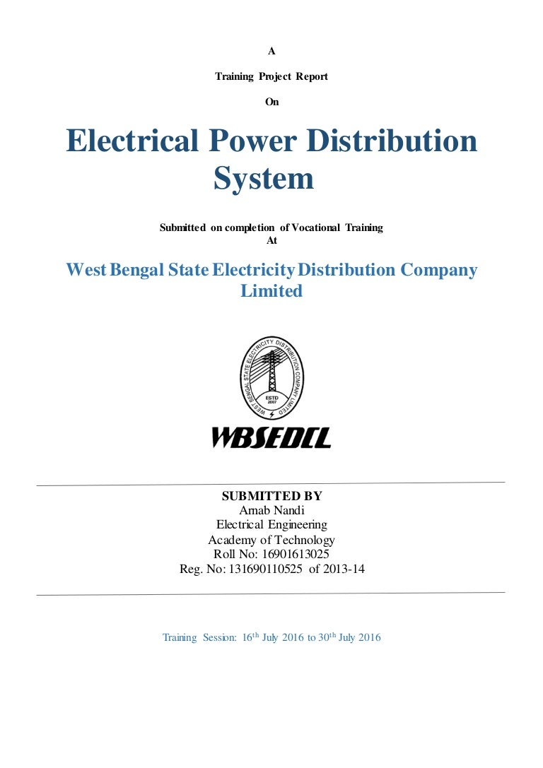 Electrical power distribution system arnabnandiwbsedcl pooptronica