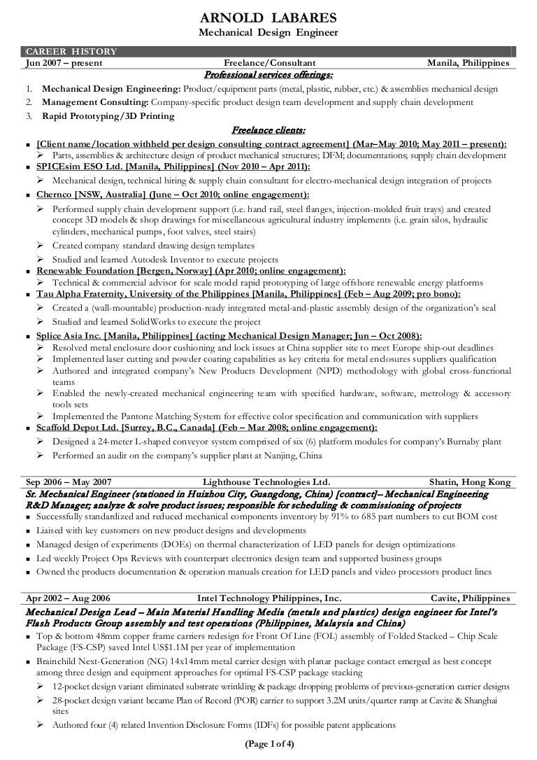 sample resume for mechanical design engineer sample resume for mechanical design engineer - Experienced Mechanical Engineer Sample Resume