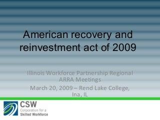 ARRA Overview Illinois Workforce Partnership Regional Meetings