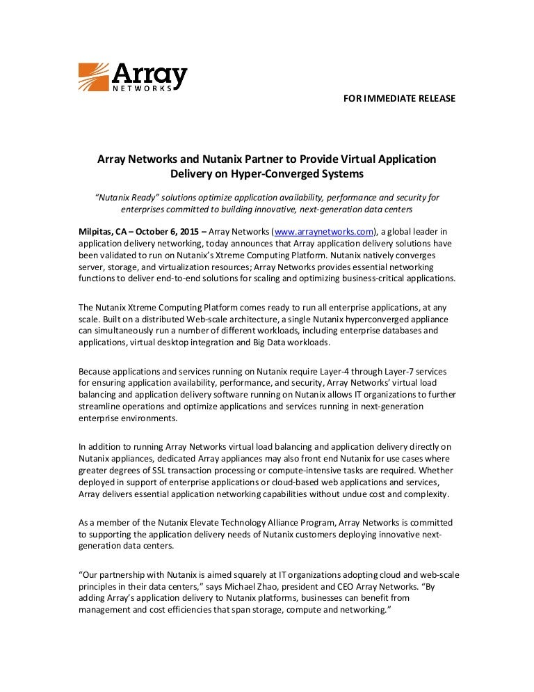 Array Networks and Nutanix Partner to Provide Virtual Application Del…