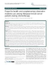 Prayer-for-health and complementary alternative medicine use among Malaysian breast cancer patients during chemotherapy