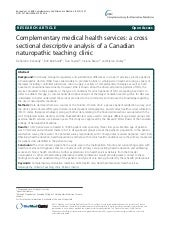 Complementary medical health services: a cross sectional descriptive analysis of a Canadian naturopathic teaching clinic