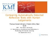 Comparing Automatically Detected Reflective Texts with Human Judgements