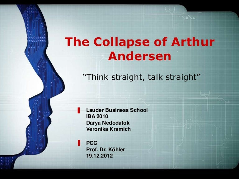 arthur andersen essay 1995 usd this paper examines how the ethical difficulties involved in the case of enron and arthur anderson, the accounting firm that had been responsible for auditing enron accounts.
