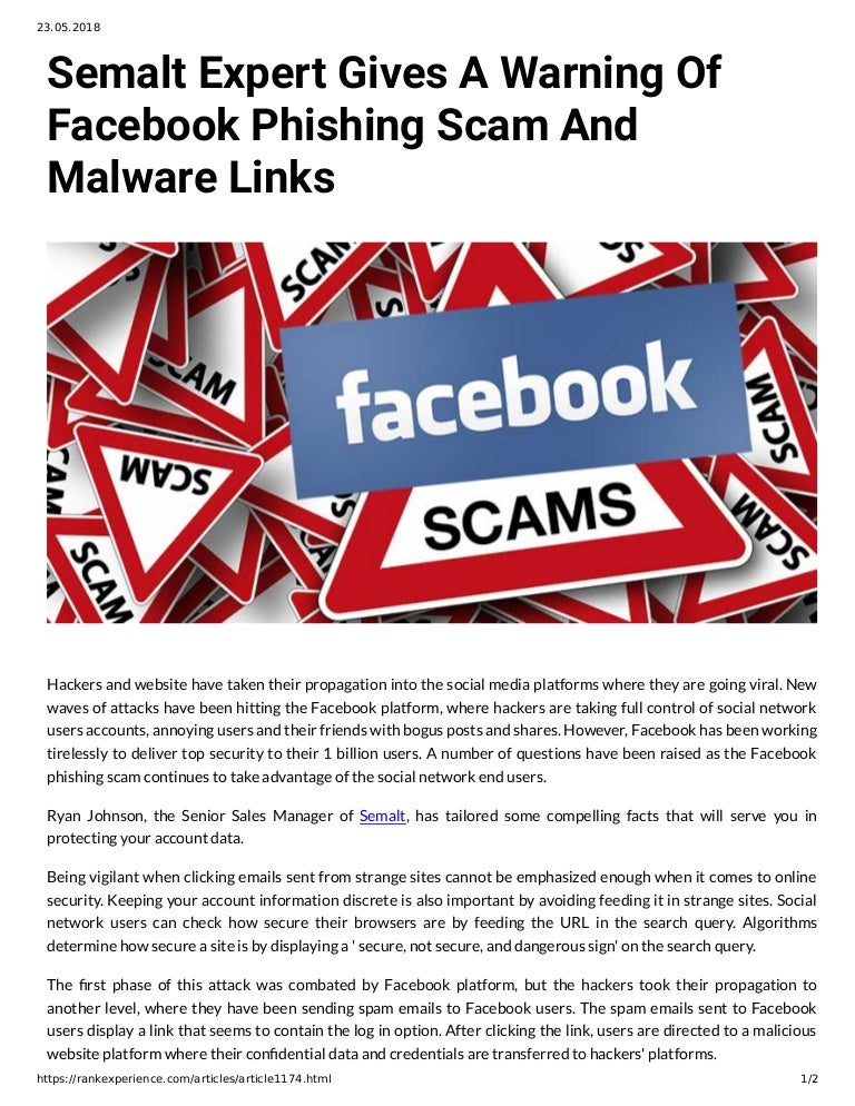 Semalt Expert Gives A Warning Of Facebook Phishing Scam And