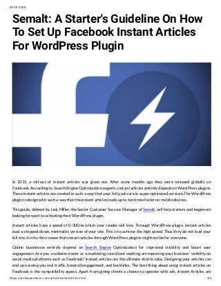 Semalt: A Start's Guideline On How To Set up Facebook Instant Articles For WordPress Plugin