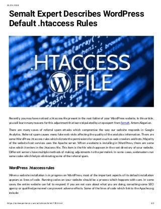 Semalt Expert Describes WordPress Default.htaccess Rules