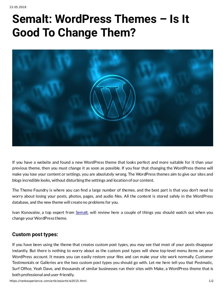 semalt wordpress themes is it good to change them if