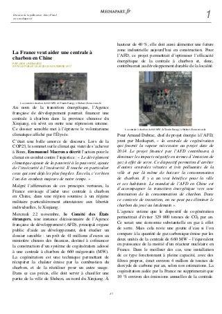 La France veut aider une centrale à charbon en Chine - 22/11/2017