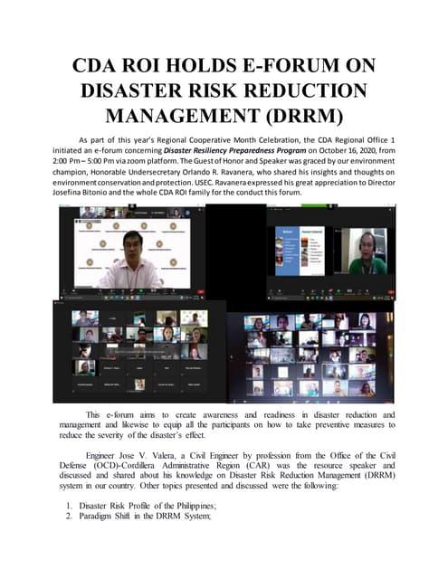 Article on Disaster Resilience Preparedness Program