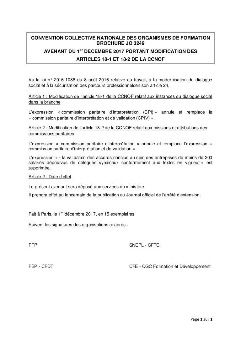 Idcc 1516 Avenant Modification Articles 18 1 18 2