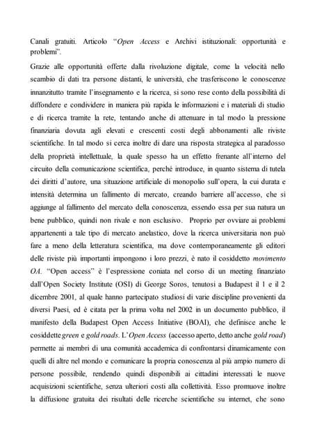 Articolo 5 Open access e archivi istituzionali: opportunità e problemi
