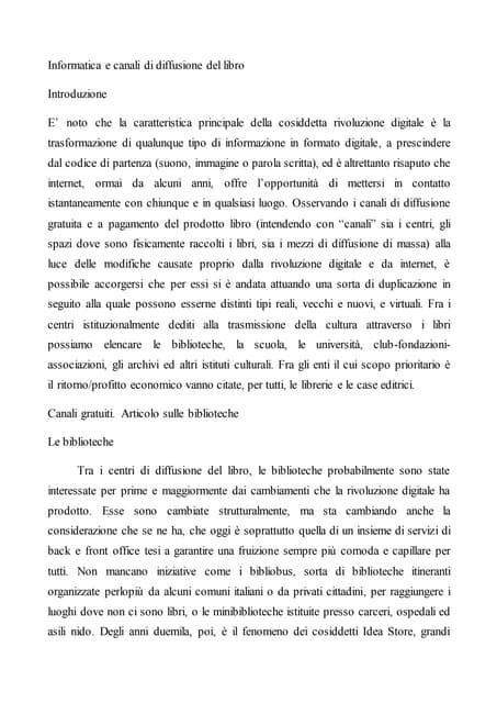 Articolo 1 informatica e canali di diffusione del libro