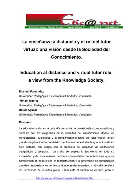 la enseñanza a distancia y el rol del tutor