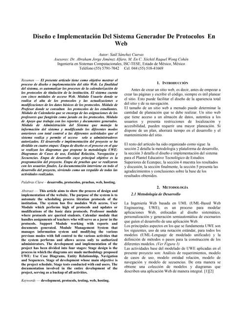 Articulo diseño e implementacion de generador de protocolos