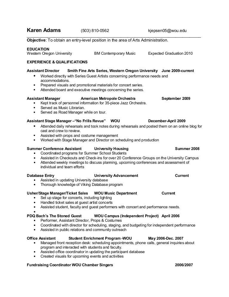 Arts Administration Resume
