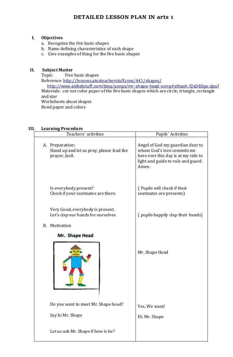 mapeh arts lesson plan for grade 1 2