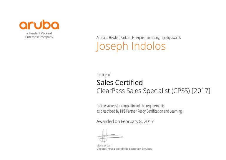 Joseph Indolos Sales Certified Clearpass Sales Specialist Cpss