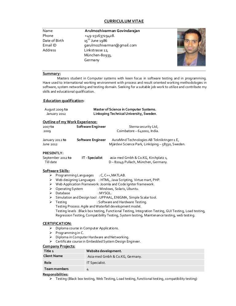 arul cv - Reservoir Engineer Sample Resume