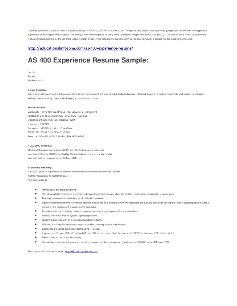 As 400 Developer Resume where