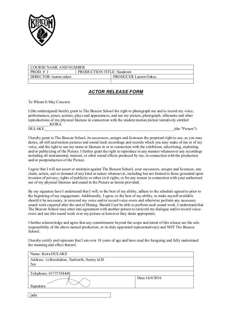 Doc14001738 Actor Release Form Download Free Actor Release – Sample Actor Release Form
