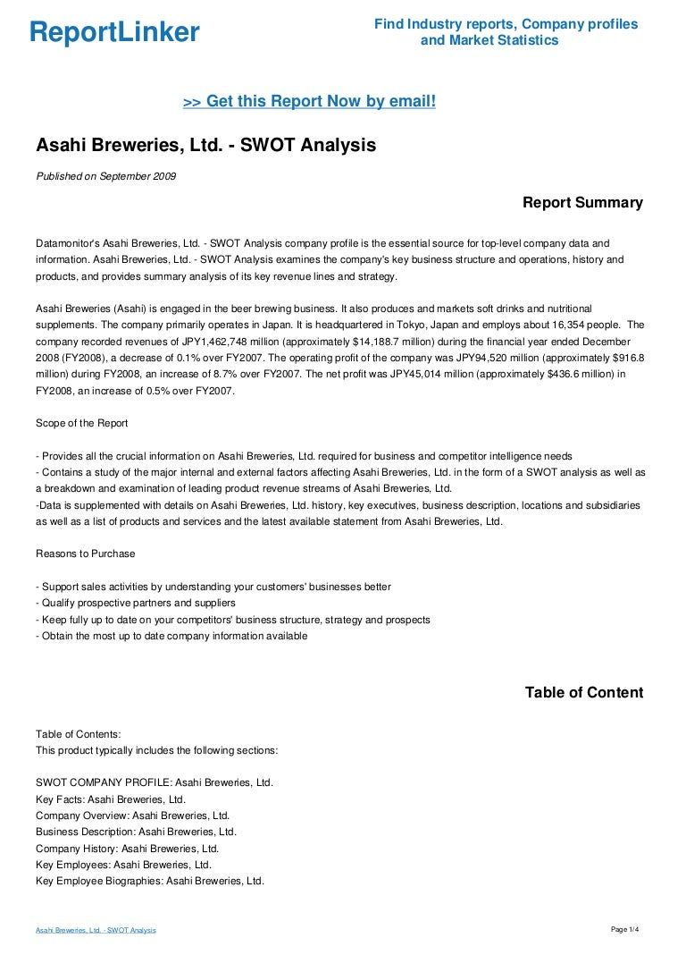 Asahi Breweries, Ltd. - SWOT Analysis