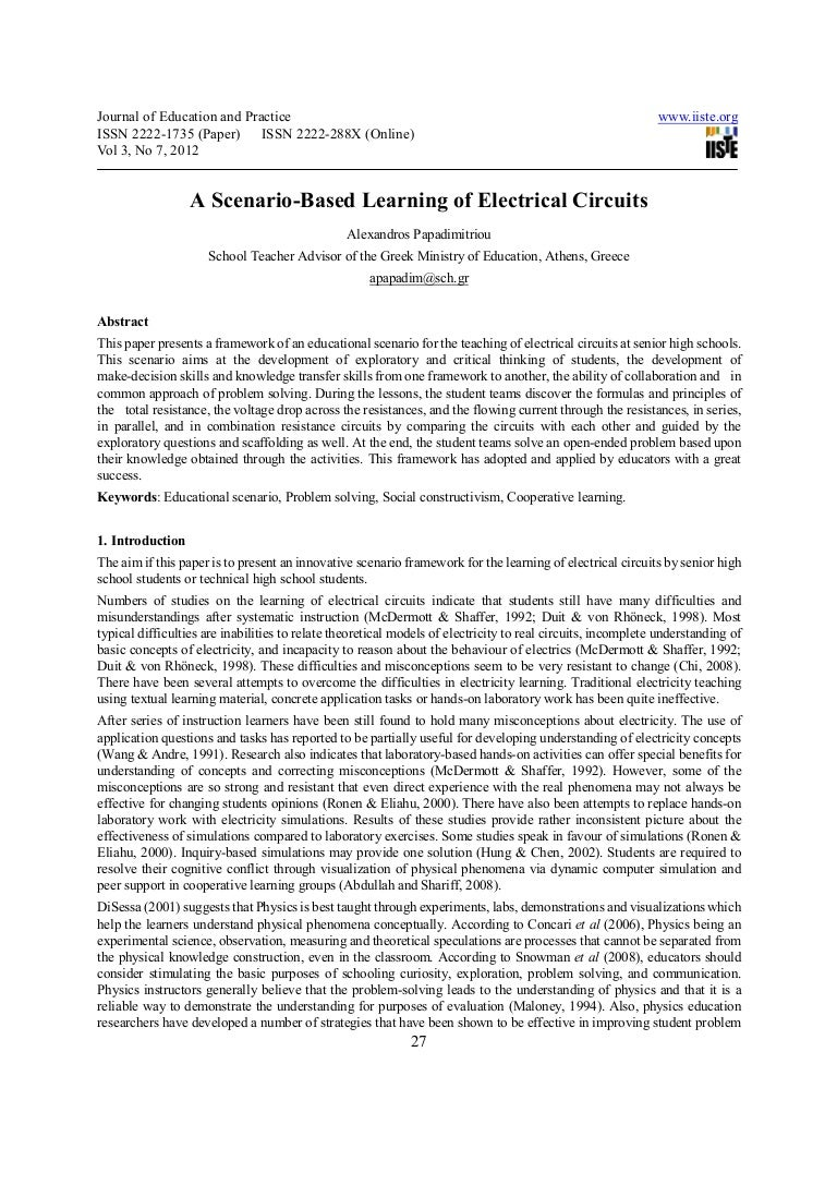 A Scenario Based Learning Of Electrical Circuits Electricity And