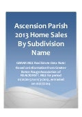 Ascension Parish Louisiana 2013 Home Sales By Subdivision Name