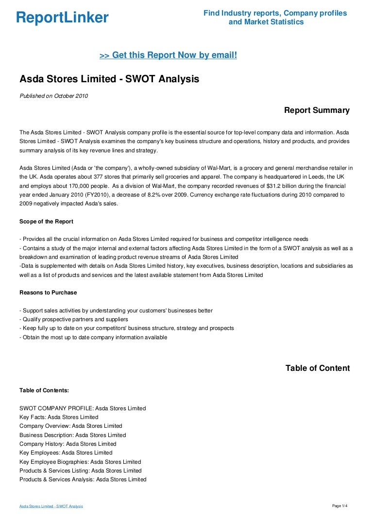 Asda Stores Limited - SWOT Analysis