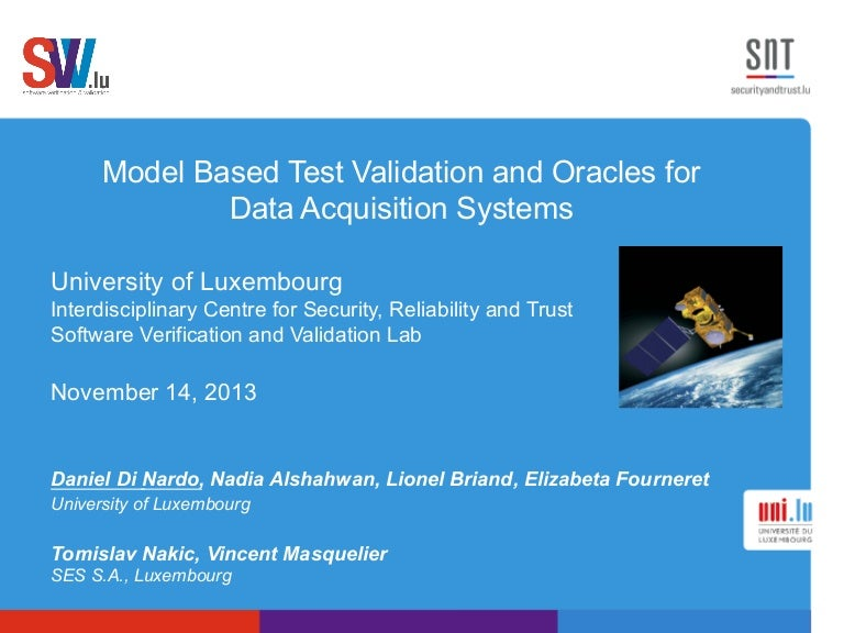 Model Based Test Validation and Oracles for Data Acquisition Systems