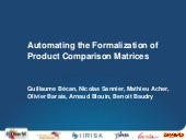 Automating the Formalization of Product Comparison Matrices