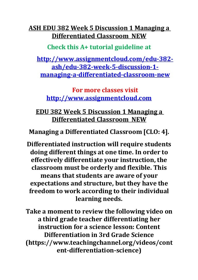 Ash Edu 382 Week 5 Discussion 1 Managing A Differentiated Classroom