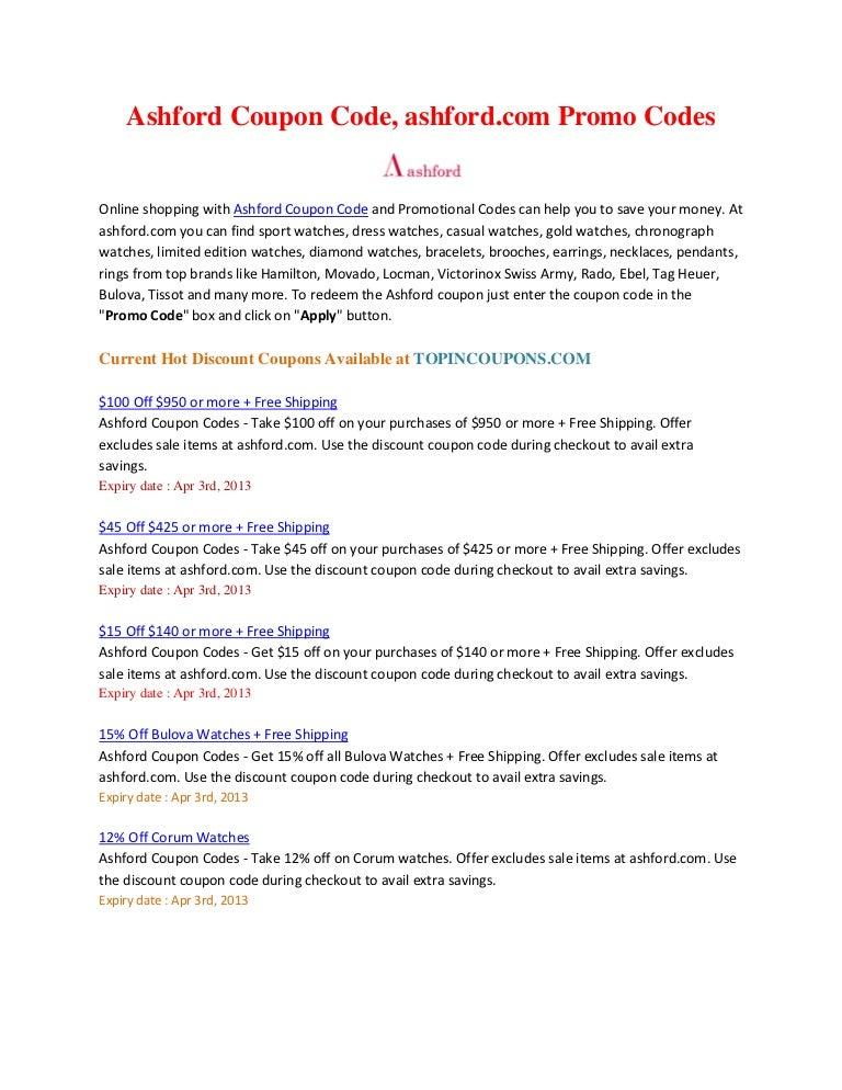 Ashford.com Coupon & Discounts