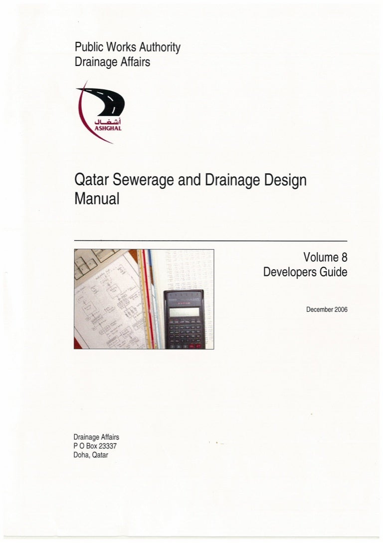 Ashghal Guide Qatar Sewerage Amp Drainage Design Manual