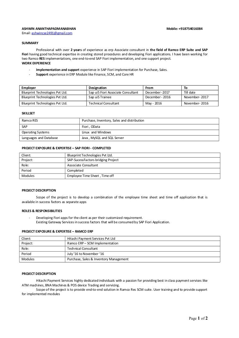 Ashwin resume