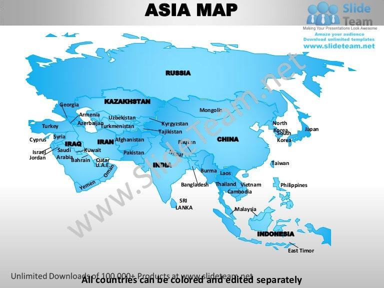 Asia powerpoint editable continent map with countries ...