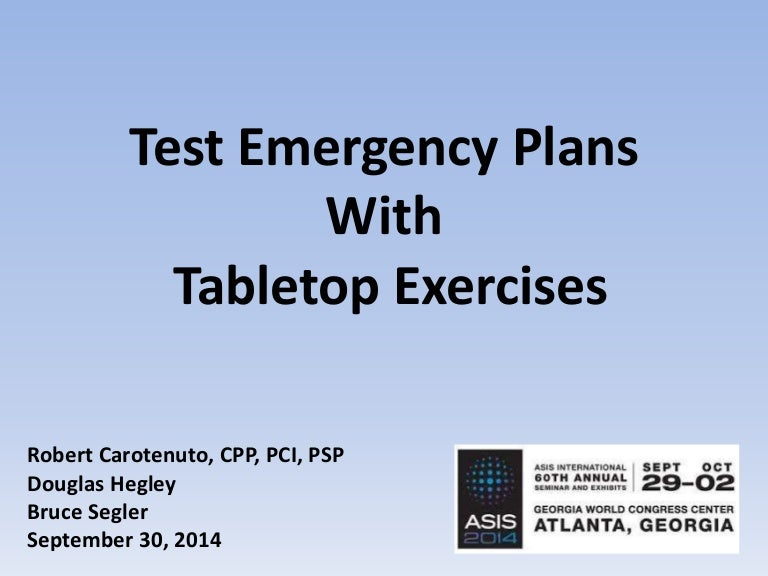 Asis conf 2014 tabletop exercises for bcp flashek Images