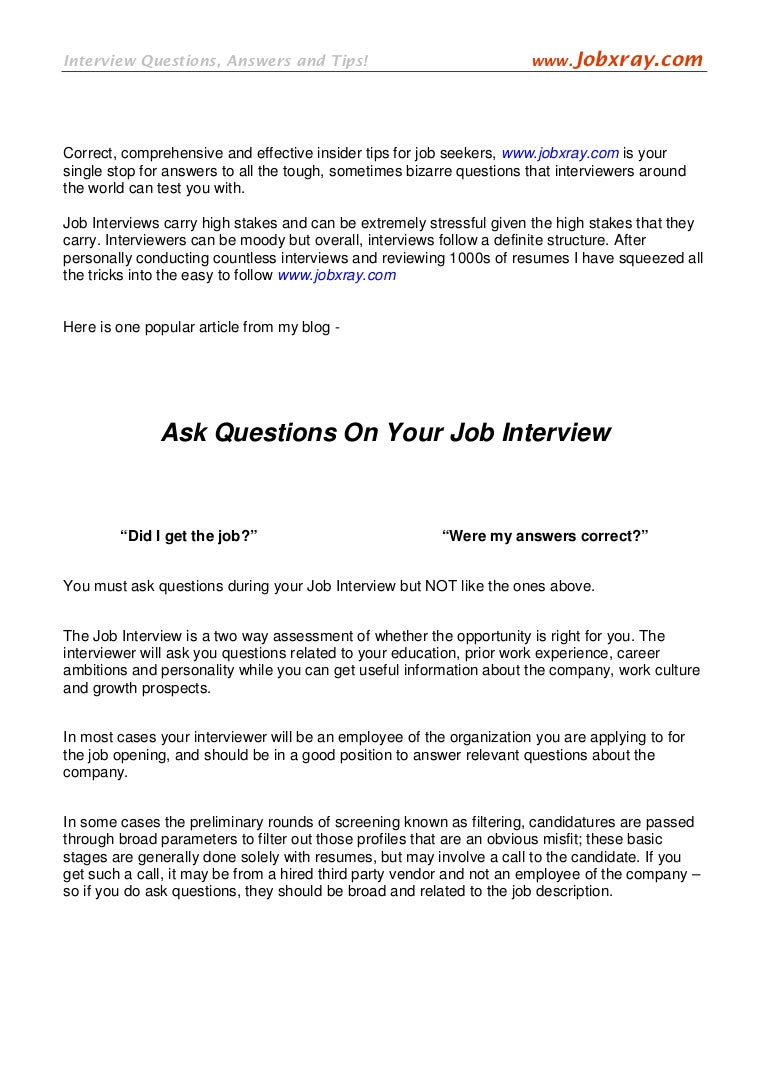 ask questions in your job interview from jobxray com