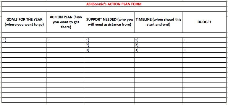 asksonnie u0026 39 s action plan form