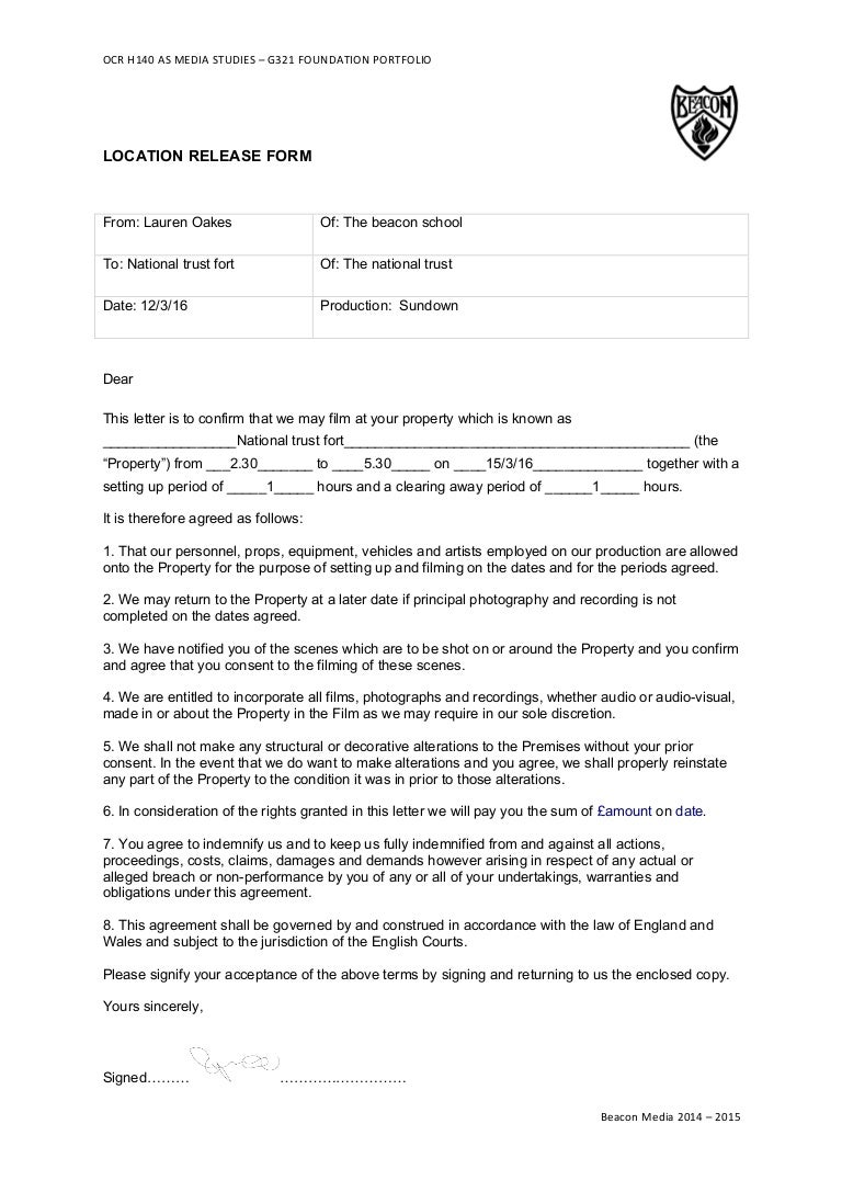 as location agreement form