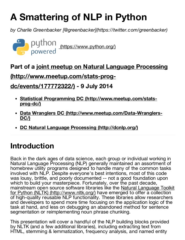 A Smattering of Natural Language Processing in Python