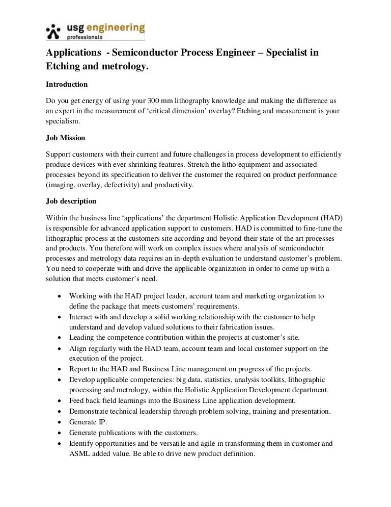Applications  Process Engineer Etching And Metrology