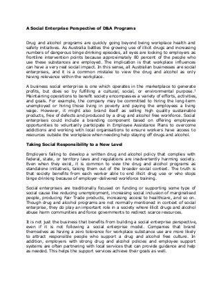 A social enterprise perspective of d&a programs