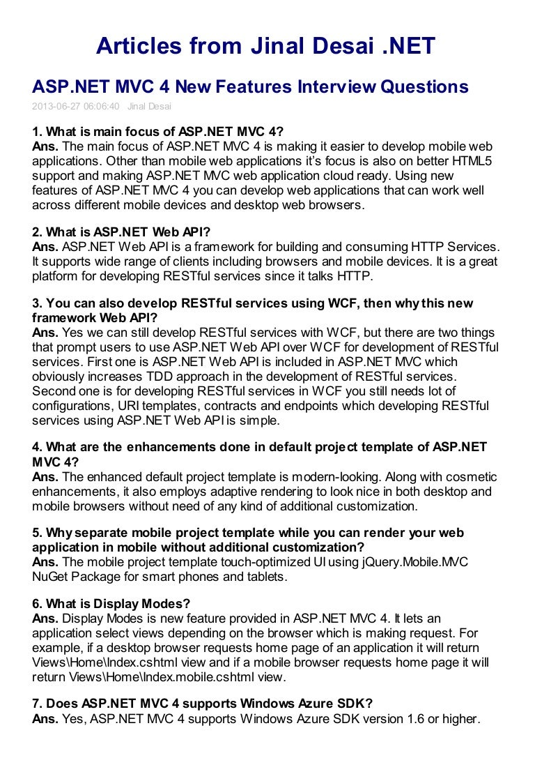 asp net mvc new features interview questions net mvc 4 new features interview questions