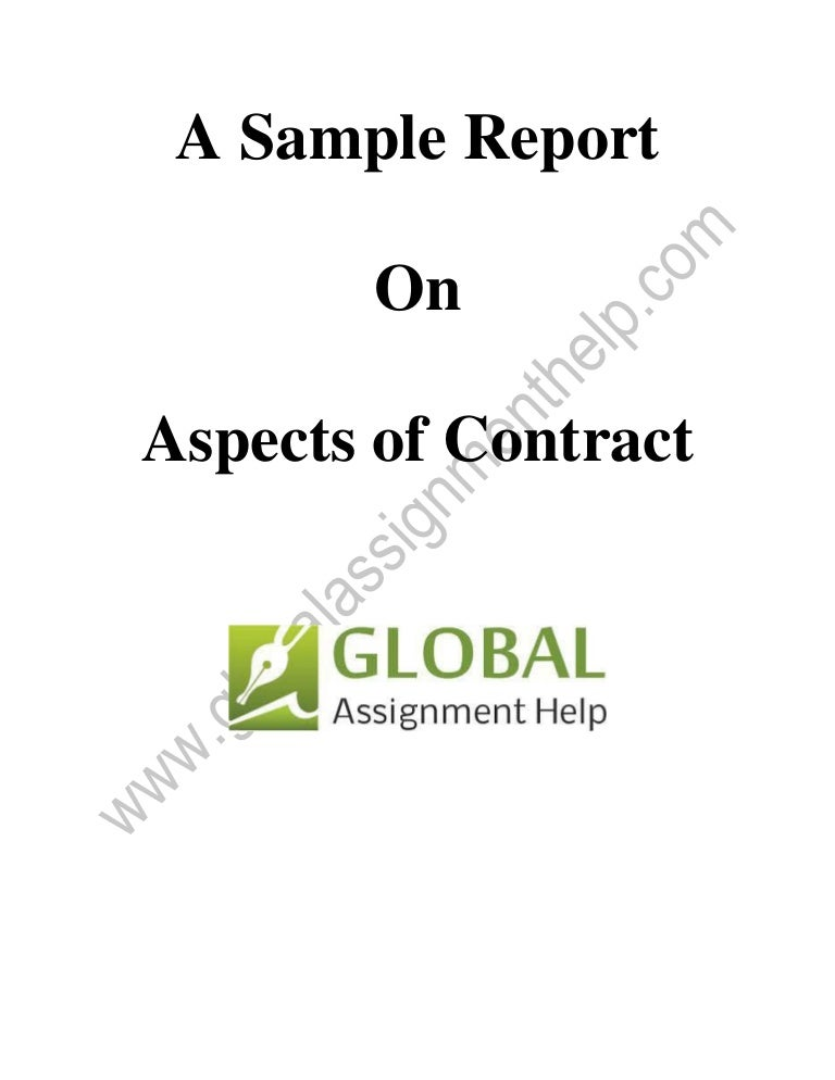 Sample On Aspects Of Contract By Global Assignment Help