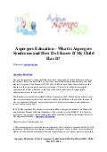 Aspergers education   what is aspergers syndrome and how do i know if my child has it