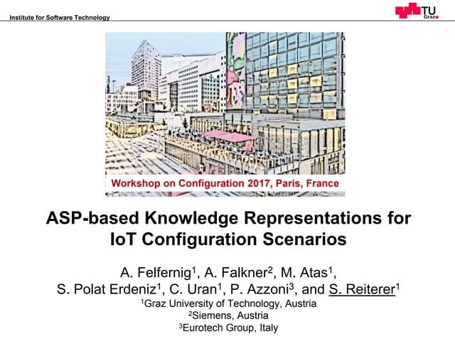 ASP-based Knowledge Representations for  IoT Configuration Scenarios