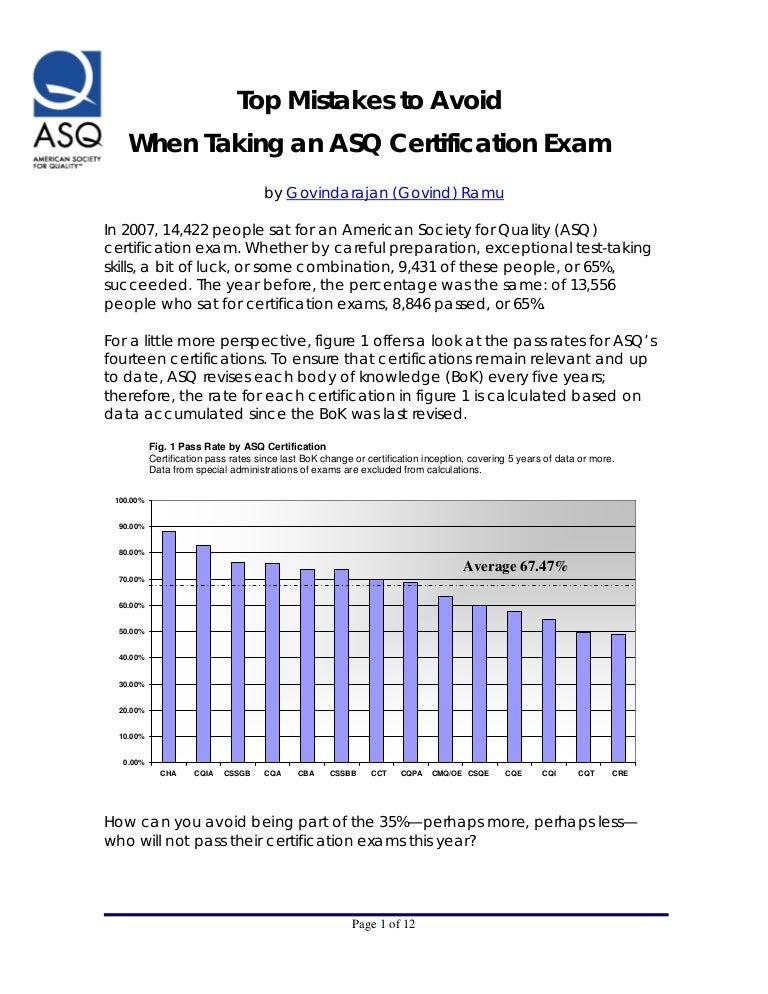 Asq Certification Exam Pass Rate