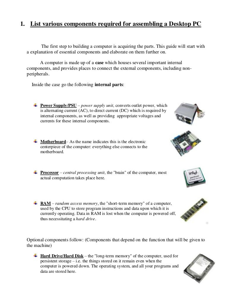 Assembling pdf computer
